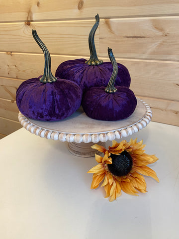 Set of 3 Luxe {PURPLE VELVET} Pumpkins! (Small, Large, XLarge)