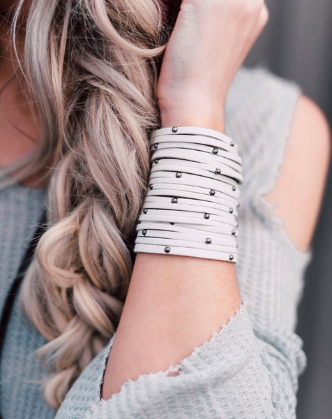 Fringe + Studs + Stones // Widest Leather Cuff