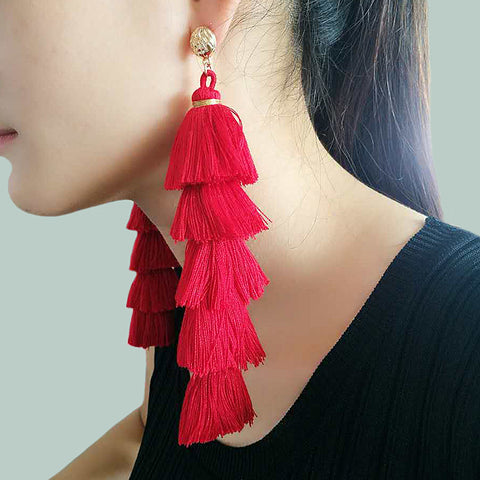 Boho Chic Layered Cotton Tassel Earrings (5 Color Ways)