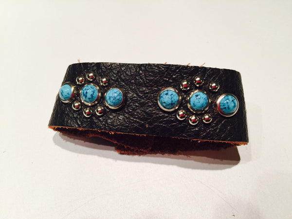 Turquoise Studded Flowers // Leather Cuff Bracelet