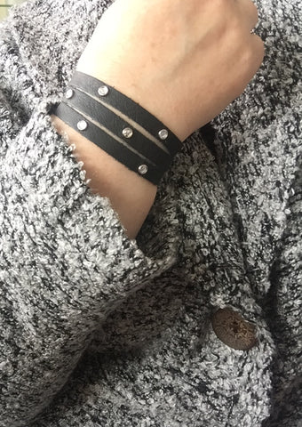 Studs + Bling // Leather Cuff