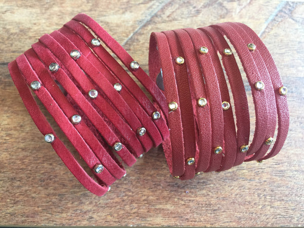 "Fringe + Bling + Studs // 2"" Leather Cuff"