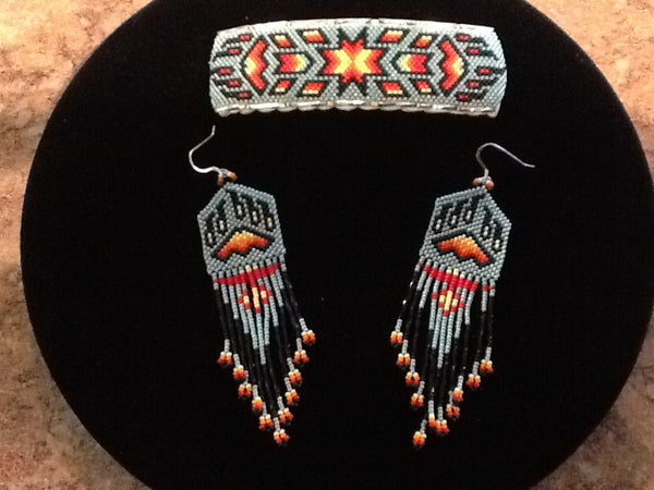 Native American Earrings & Barrette Set #3