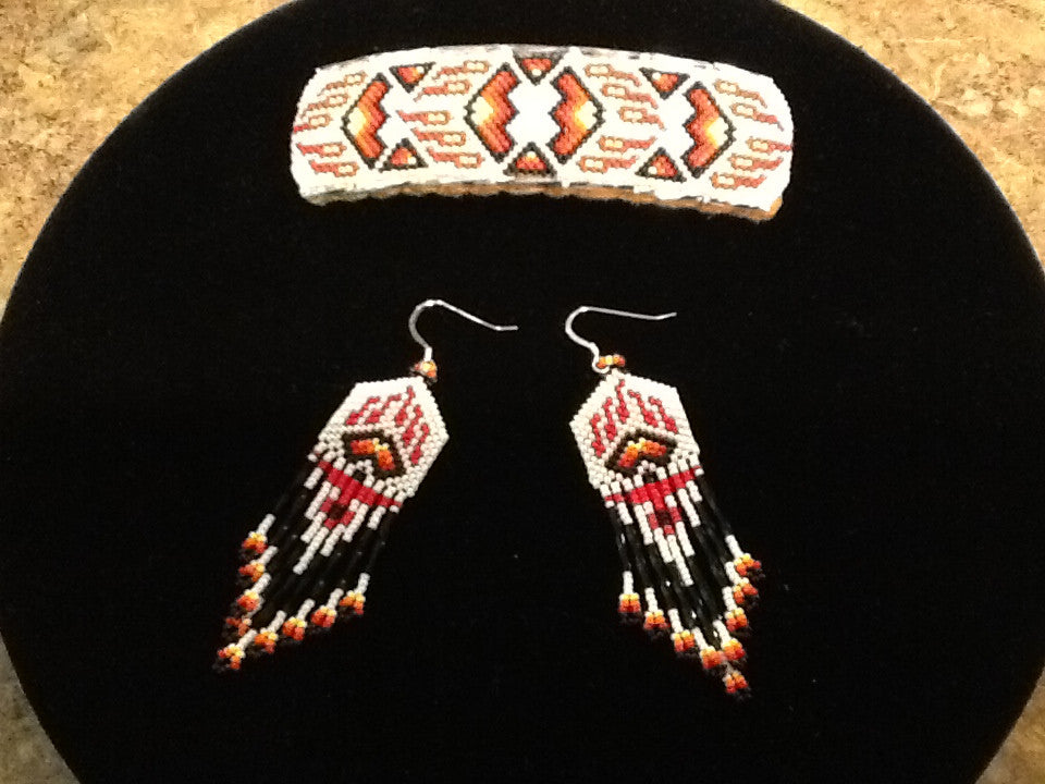 Native American Earrings & Barrette Set #4