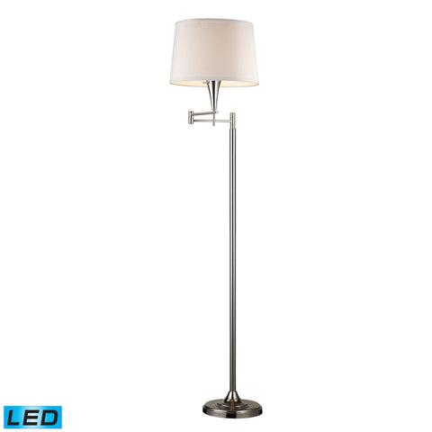 1 Light LED Swingarm Floor Lamp In Polished Chrome