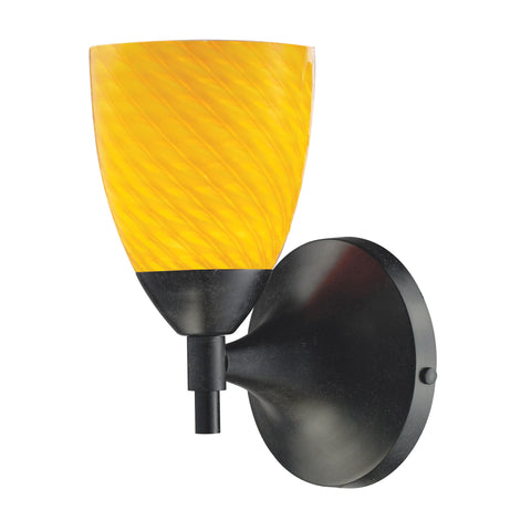 Celina 1 Light Sconce In Dark Rust And Canary Glass