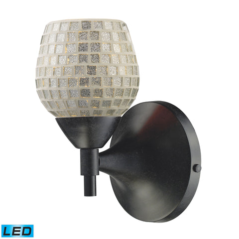 Celina 1 Light LED Sconce In Dark Rust And Silver Glass