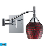 Celina 1 Light LED Swingarm Sconce In Polished Chrome And Copper Glass