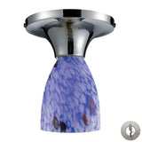Celina 1 Light Semi Flush In Polished Chrome And Starburst Blue Glass - Includes Recessed Lighting Kit