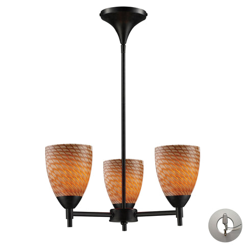 Celina 3 Light Chandelier In Dark Rust And Cocoa Glass - Includes Recessed Lighting Kit