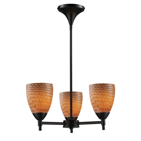 Celina 3 Light Chandelier In Dark Rust And Cocoa Glass