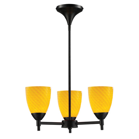 Celina 3 Light Chandelier In Dark Rust And Canary Glass