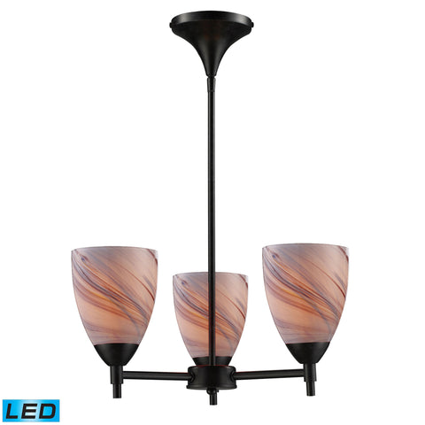 Celina 3 Light LED Chandelier In Dark Rust And Creme Glass