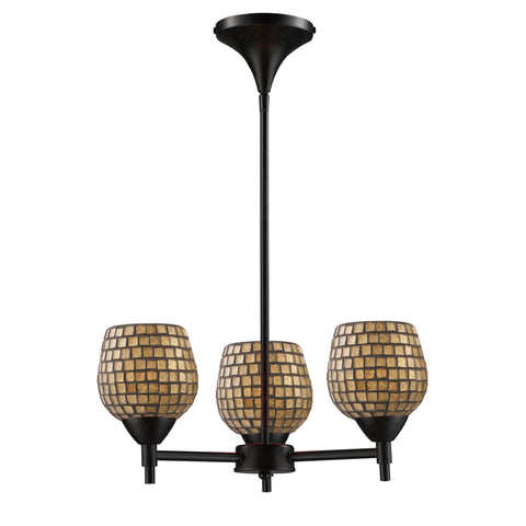 Celina 3 Light Chandelier In Dark Rust And Gold Leaf Glass