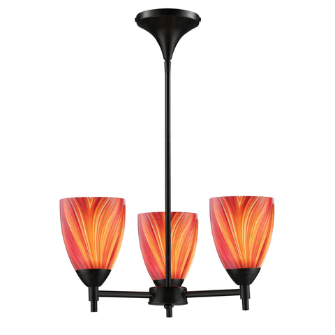 Celina 3 Light Chandelier In Dark Rust And Multi Glass