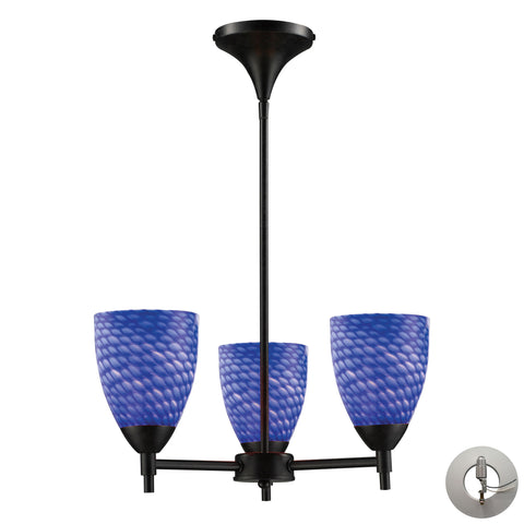 Celina 3 Light Chandelier In Dark Rust And Sapphire Glass - Includes Recessed Lighting Kit