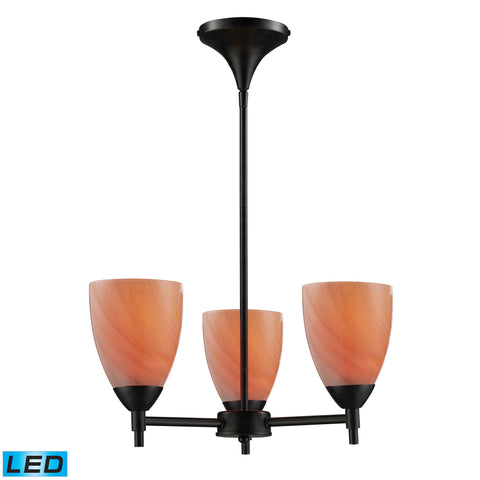 Celina 3 Light LED Chandelier In Dark Rust And Sandy Glass