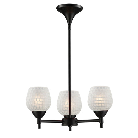 Celina 3 Light Chandelier In Dark Rust And White