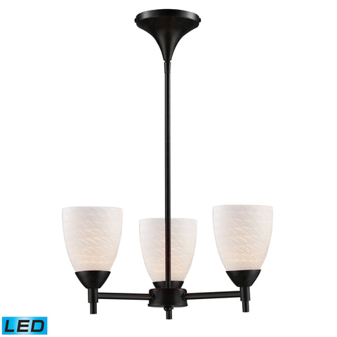 Celina 3 Light LED Chandelier In Dark Rust And White Swirl Glass