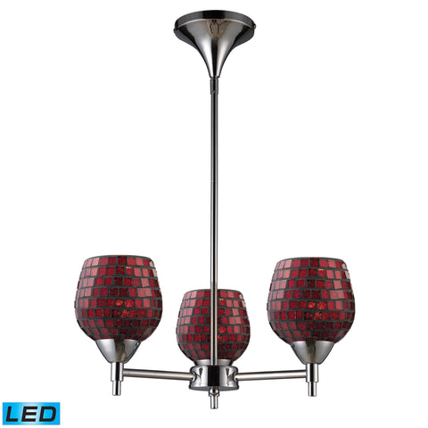 Celina 3 Light LED Chandelier In Polished Chrome And Copper Glass