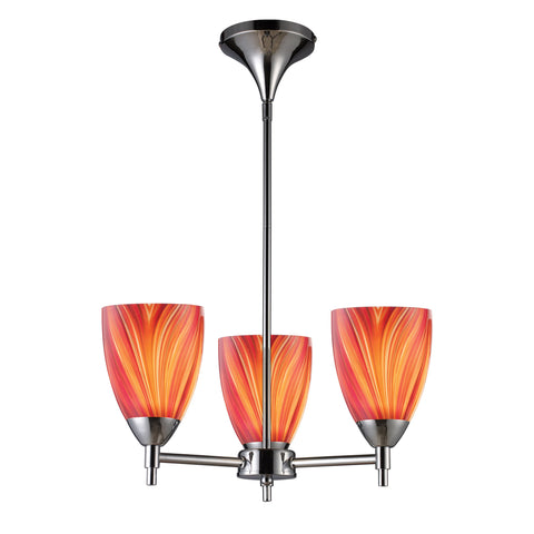 Celina 3 Light Chandelier In Polished Chrome And Multi Glass