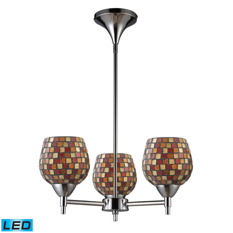 Celina 3 Light LED Chandelier In Polished Chrome And Multi Fusion Glass