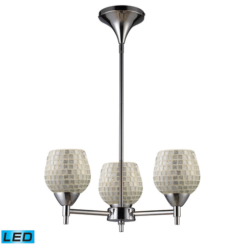 Celina 3 Light LED Chandelier In Polished Chrome And Silver Glass