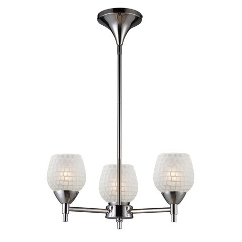 Celina 3 Light Chandelier In Polished Chrome And White