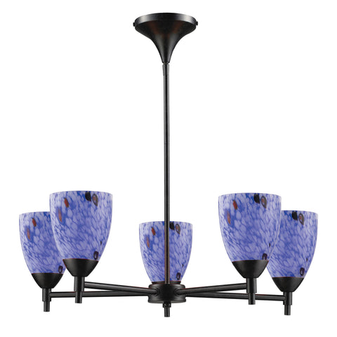 Celina 5 Light Chandelier In Dark Rust And Starburst Blue Glass