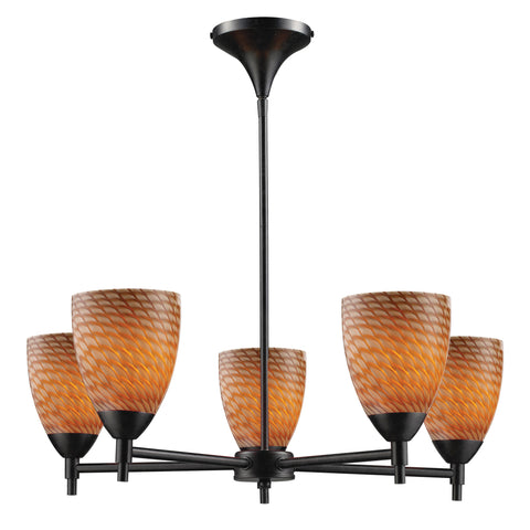 Celina 5 Light Chandelier In Dark Rust And Cocoa Glass