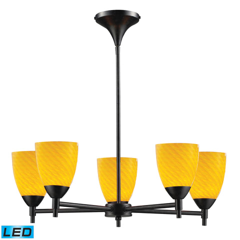 Celina 5 Light LED Chandelier In Dark Rust And Canary Glass