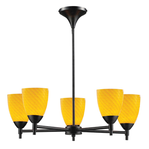 Celina 5 Light Chandelier In Dark Rust And Canary Glass