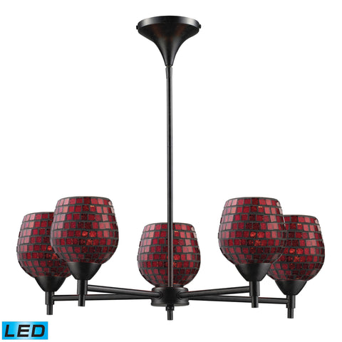 Celina 5 Light LED Chandelier In Dark Rust And Copper Glass
