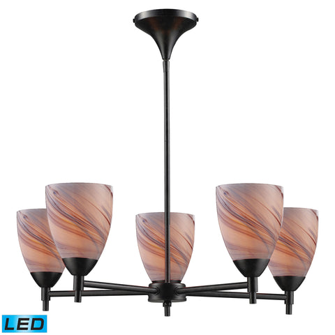 Celina 5 Light LED Chandelier In Dark Rust And Creme Glass