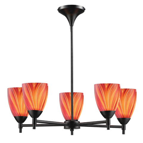 Celina 5 Light Chandelier In Dark Rust And Multi Glass