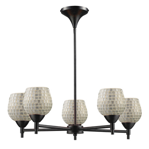 Celina 5 Light Chandelier In Dark Rust And Silver Glass