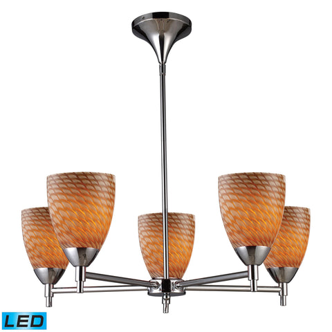Celina 5 Light LED Chandelier In Polished Chrome And Cocoa Glass