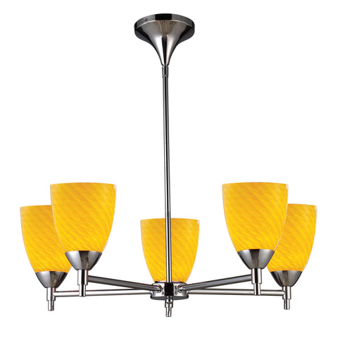 Celina 5 Light Chandelier In Polished Chrome And Canary Glass