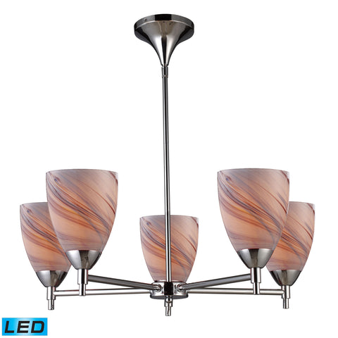 Celina 5 Light LED Chandelier In Polished Chrome And Creme Glass