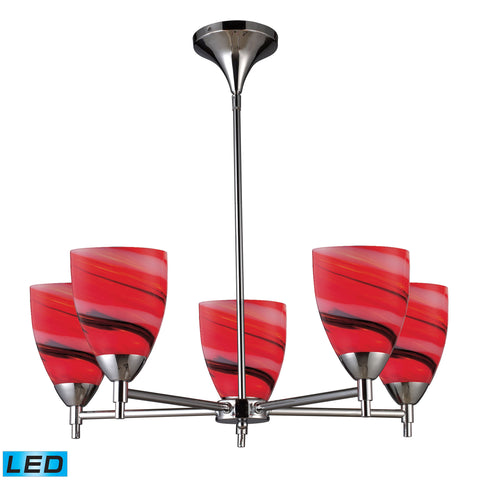 Celina 5 Light LED Chandelier In Polished Chrome And Candy Glass