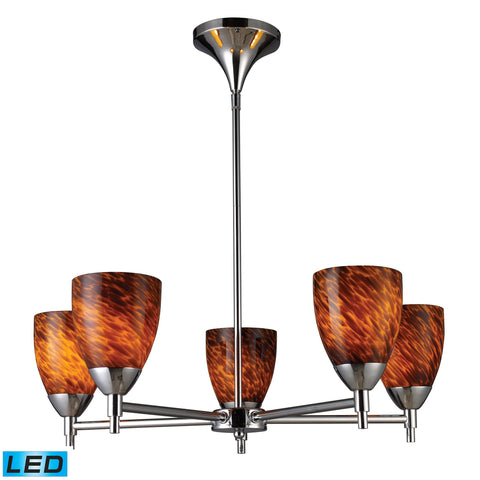 Celina 5 Light LED Chandelier In Polished Chrome And Espresso Glass