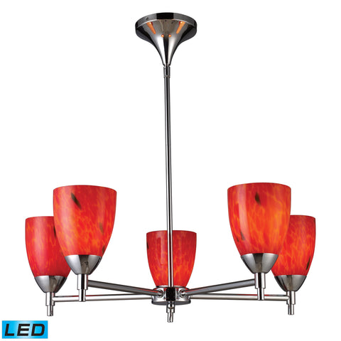 Celina 5 Light LED Chandelier In Polished Chrome And Fire Red Glass