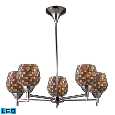 Celina 5 Light LED Chandelier In Polished Chrome And Multi Fusion Glass