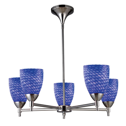 Celina 5 Light Chandelier In Polished Chrome And Sapphire Glass