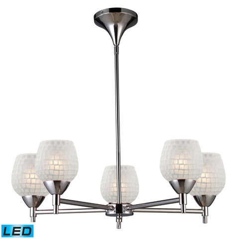 Celina 5 Light LED Chandelier In Polished Chrome And White Glass
