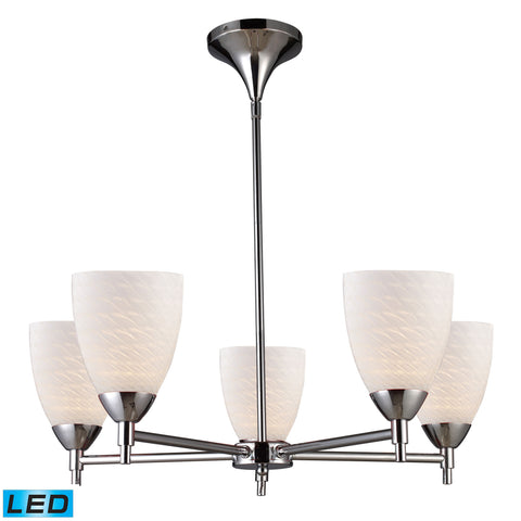 Celina 5 Light LED Chandelier In Polished Chrome And White Swirl Glass