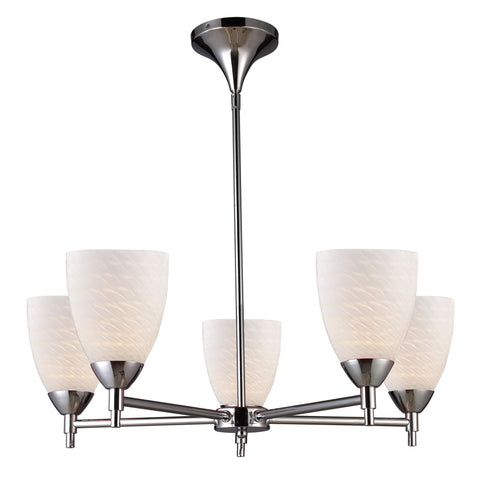 Celina 5 Light Chandelier In Polished Chrome And White Swirl Glass