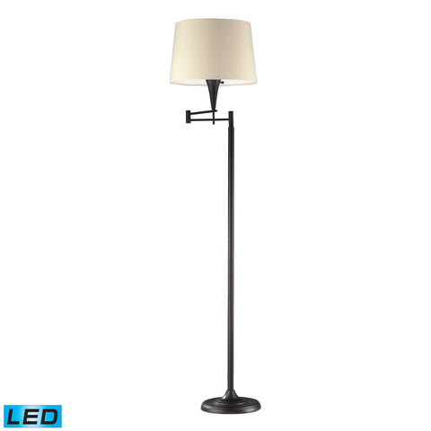 1 Light LED Swingarm Floor Lamp In Aged Bronze