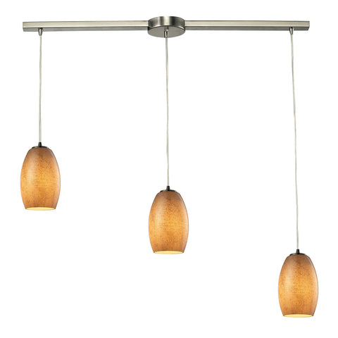 Andover 3 LED Light Pendant In Satin Nickel And Textured Beige Glass