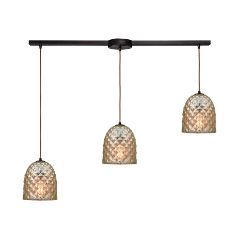 Brimley 3 Light Linear Bar Fixture In Oil Rubbed Bronze With Raised Diamond Texture Mercury Glass